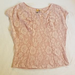 Baby pink Lacey short sleeve top